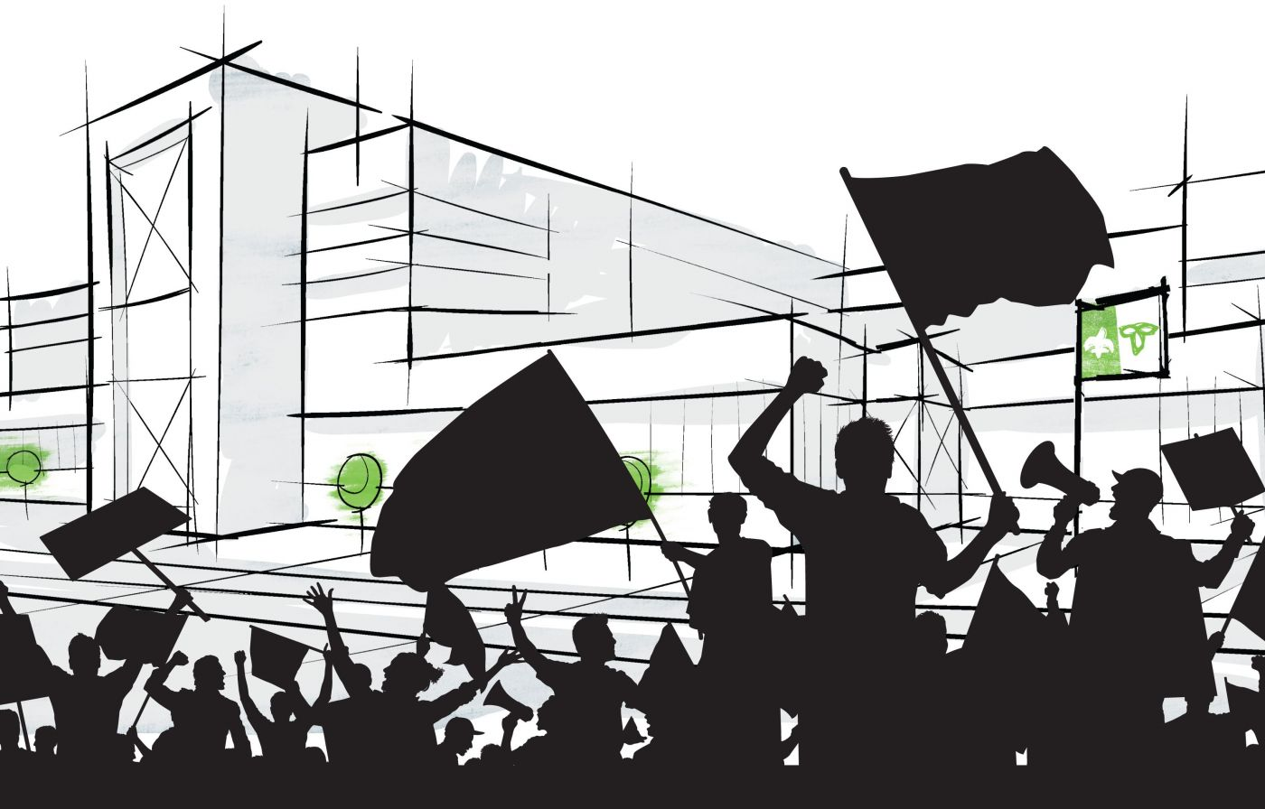 Colour drawing of a crowd demonstrating with flags, placards and megaphones. The figures, seen from behind, appear in black silhouette in front of a stylized building with a Franco-Ontarian flag and balloons in green.