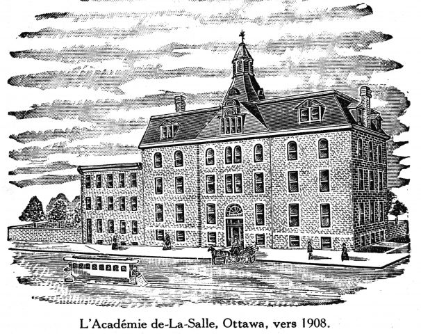 Black and white drawing of a four-storey stone building. The building has a grand classical façade and a bell-caste roof topped by a lantern.