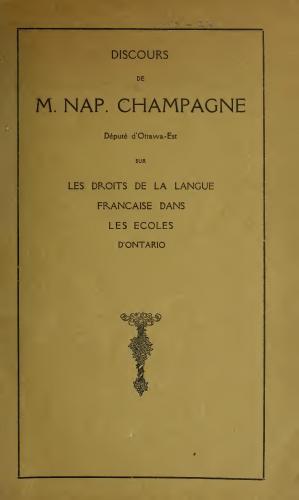 Discours imprimé, en français. La page couverture comporte le titre du document, en lettres majuscules de différentes tailles ainsi que le dessin d'un piédestal fleuri.