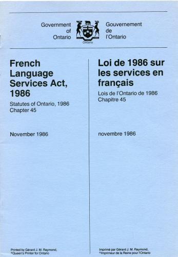 Document imprimé. Les armoiries de l'Ontario figurent en haut de la page couverture; au centre, un texte en anglais sur la colonne de gauche et un texte en français sur celle de droite. Le titre de la loi apparaît en gras.