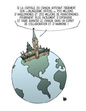 Dessin en couleur avec texte imprimé, en français. L'image illustre un globe terrestre et des continents sans frontières. L'édifice du Parlement du Canada figure au nord des Amériques. Une bulle de texte est rattachée à l'édifice.